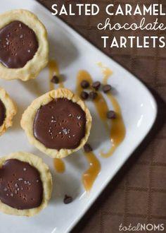 Salted Caramel Chocolate Tartlets by Total Noms for JavaCupcake.com