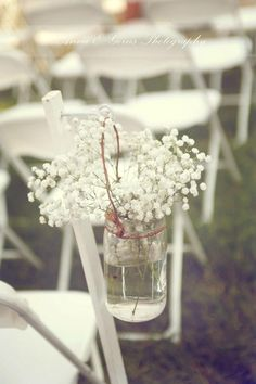 Wedding decor, babies breath, mason jars, vintage wedding, antique ideas, wildflower look, aisle decorations, country wedding, shabby chic, white chairs, rustic decor
