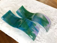 Fused Glass Wall Art, Blue Green Lavender Glass Wall Sculpture, Contemporary Home Decor