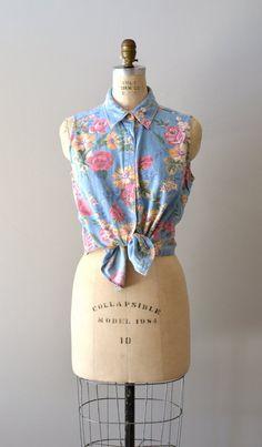 sleeveless denim shirt / striped denim / Backyard Garden shirt
