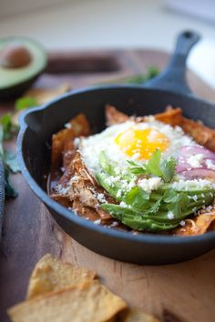 5 Minute Skinny Chilaquiles - Lillie Eats and Tells Fried Egg Recipes, Lunch Recipes, Mexican Food Recipes, Breakfast Recipes, Dinner Recipes, Healthy Recipes, Ethnic Recipes, Breakfast Ideas, Breakfast Energy