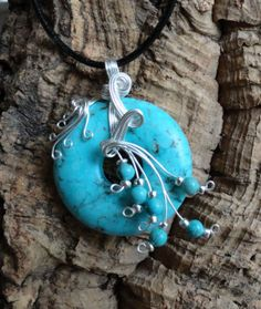 Wire Wrapped Pendant - Turquoise Howlite and Silver Plated Wire FREE SHIPPING
