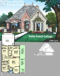 architectural designs petite french country house plan gives you over square feet of living in a tidy floor plan with a flagstone patio along one side - Small French Country Cottage House Plans