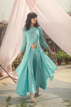 Buy Samatvam By Anjali Bhaskar Designer Lehengas, Sarees Indian Attire, Indian Ethnic Wear, Western Dresses, Indian Dresses, Pakistani Outfits, Indian Outfits, New Designer Dresses, Beautiful Suit, Indian Couture