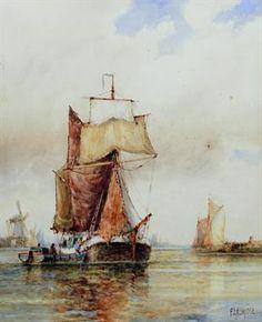 Frederick James Aldridge - Watercolour - Dutch barge in full sail and lighter , Dutch Barge, Full Sail, Seafarer, Sailing Ships, Lighter, Seaside, Watercolour, Nautical, Coastal