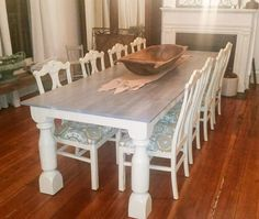 Custom Built Table in Linen Milk Paint and Gray Gel Stain | General Finishes Design Center