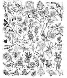 Creepy Nature Flash art of tattoo filler - Tiny tattoo ideas for women