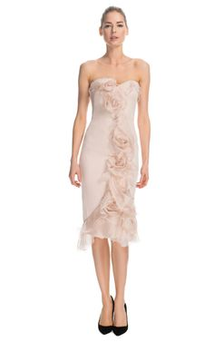 Marchesa Silk Gauze Cocktail Dress with Tulle Rose Detail