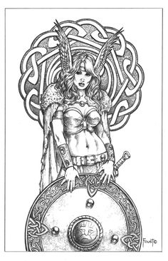 Viking, celtic Shield Maiden by Mitch Foust - Tattoo Flash - gorgeous women with swords and shields. Norse Tattoo, Viking Tattoos, Tattoo Drawings, Art Drawings, Valkyrie Tattoo, Shield Maiden, Viking Art, Desenho Tattoo, Coloring Book Pages