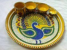 Thali Decoration Ideas, Diwali Decorations, Festival Decorations, Kalash Decoration, Small Rangoli Design, Beautiful Rangoli Designs, Hobbies And Crafts, Arts And Crafts, Diy Crafts