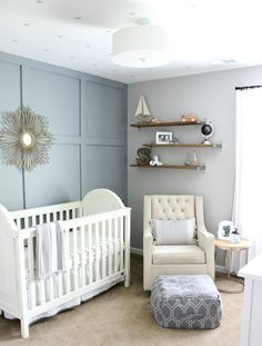 Cool, Neutral Hamptons Inspired Nursery // Baby Nursery Inspiration // Gender Neutral Nursery Inspiration
