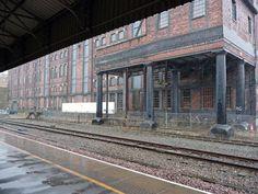 Warehouse adjacent to Huddersfield. Factories, Warehouses, Railroad Tracks, Sea, The Ocean, Ocean, Train Tracks