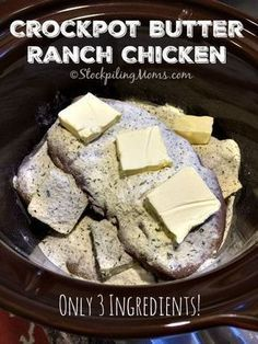 Only 3 ingredients needed for this easy Crockpot Butter Ranch Chicken dinner meal recipe and it tastes amazing! Only 3 ingredients needed for this easy Crockpot Butter Ranch Chicken dinner meal recipe and it tastes amazing! Crock Pot Recipes, Crock Pot Food, Crockpot Dishes, Crock Pot Slow Cooker, Slow Cooker Recipes, Low Carb Recipes, Cooking Recipes, Crockpot Recipes For Kids, Healthy Recipes
