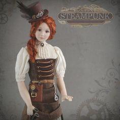 1:12 Scale Steampunk Dollhouse Doll by Debbie Dixon-Paver Dolls