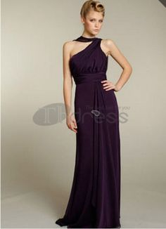 One-Shoulder Sweep Train Chiffon Charmeuse Bridesmaid Dresses