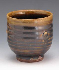 salt fired cup with Temmoku glaze by RonPhilbeckPottery