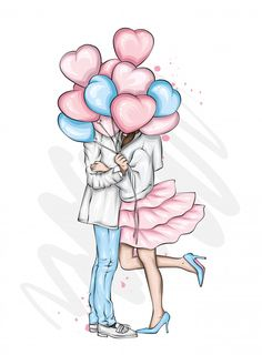 Valentine Cartoon, Valentines Art, Girly Drawings, Art Drawings Sketches, Love Illustration, Character Illustration, Cute Couple Art, Beautiful Couple, Cartoon Girl Images