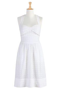 eShakti, Dresses, White Dress, Summer Dress, Sundress, White Sundress, Eyelet Dress