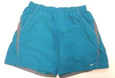 Nike Swim Trunks Mens size 2XL Solid Blue with gray Side Pockets 7 inch inseam #Nike #Trunks