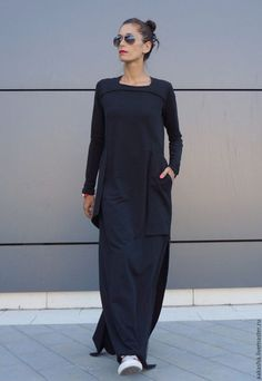 Neue Maxi-Kleid / schwarzen Kaftan Baumwolle Kleid /Side outfit plus size New Maxi Dress / Black Kaftan Cotton Dress /Side Pockets Dress / Extravagant Cotton Party Dress /Daywear Dress Mode Abaya, Mode Hijab, Mode Outfits, Dress Outfits, Black Maxi Dress Outfit Ideas, Dress Casual, Fall Outfits, Black Kaftan, Dress Black