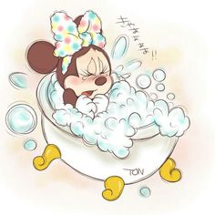 Aw poor Minnie, she must not like her bubble bath since it's too hot.