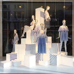 """ZARA,London,UK, """"We ALL feel a little blue.sometimes"""", pinned by Ton van der Veer Visual Merchandising Displays, Visual Display, Display Design, Retail Windows, Store Windows, Store Window Displays, Retail Displays, Mannequin Display, Fashion Displays"""