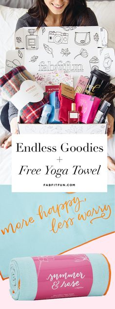 Like trying out new products? The you'll love FabFitFun! Each season we send you a box stuffed with over $200 of luxe, full-size beauty, fashion, and wellness products for just $49.99, plus we're also throwing in a FREE yoga towel with your 1st box with code YOGA Offer valid while supplies last.