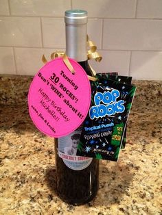 "(or 40 or Birthday gift. Don't 'WINE' about it!"" Pop rocks, hang tag, curly ribbon, fun bottle of wine. 30th Birthday Presents, Funny Birthday Gifts, 30th Birthday Parties, Friend Birthday Gifts, Birthday Fun, Birthday Pranks, Brother Birthday, 30 Rocks Birthday, Birthday Basket"