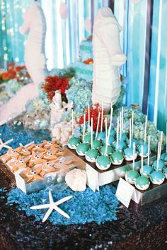 Discover yummy treats and under the sea decor ideas at this enchanting mermaid-themed birthday party.