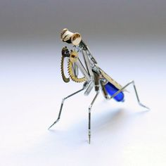 "Mechanical Praying Mantis ""Mantis No 26"" Sculpture Recycled Watch Parts Clockwork Mantis Mantid Watch Stems Faces Insect A Mechanical Mind"
