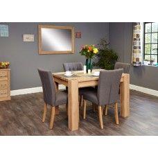 Aston Oak Furniture 4 Seater Dining Table & Grey Chair Set
