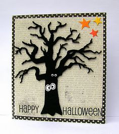 """Spooky """"Happy Halloween"""" Tree Card...with googly eyes...Jan: Simply Made.  (Click on 2011 & then October to pull up the information on this card.)"""