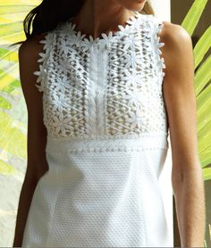 Lilly Pulitzer Breakers Lace Top Shift Dress in Resort White- amazing details, hand drawn lace