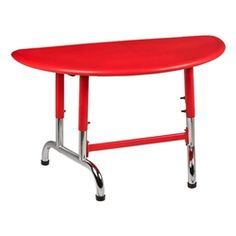 This colorful plastic table has adjustable legs for growing students.