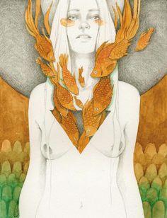 Elia Fernández watercolor, graphics illustration. Girl, fish