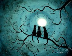 Three Black Cats Under A Full Moon Painting  - Three Black Cats Under A Full Moon Fine Art Print © Laura Iverson