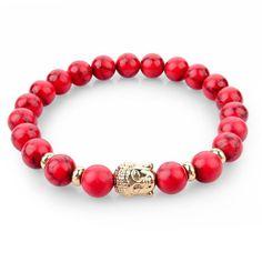 Buddha Bracelet Mala Beads Black Lava & Natural Stones For Women and Men