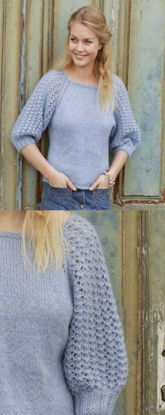 Raglan Sweater with Lace Sleeves Free Knitting Pattern.
