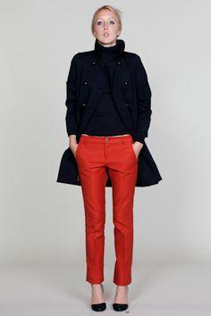 red pants and dark coat
