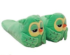 HW-GOODS Womens Owl Velvet Slippers (green) *** Learn more by visiting the image link.