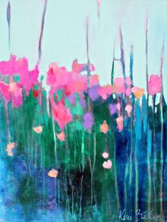 "Abstract Floral Painting, Colorful Flowers, Abstract Acrylic Painting, Original on Canvas ""Wildflowers in the Tall Grass"" Acrylic Flowers, Watercolor Flowers, Painting Flowers, Floral Artwork, Beginner Painting, Art For Art Sake, Colorful Flowers, Art Projects, Etsy"