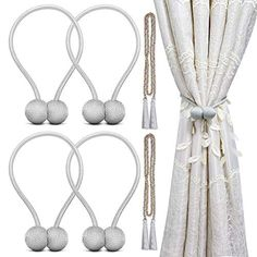 Indoor Outdoor Curtains Hand Knitting Window Draperies Ropes NICETOWN Cotton Tie-Backs Holdbacks for Drapes Satin Gold, 30 inches Length, Set of 2