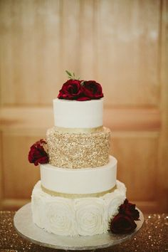 Red Rose And Gold Accent Buttercream Wedding Cake Wedding Cake