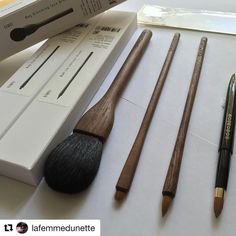 #Repost @lafemmedunette with @repostapp  Happy Friday! Thank you  @fudejapan for helping me get these three wonderful Shaquda UBU series brushes to add to my collection! From left to right: 803 Blooming Face Brush (goat) 825 Eye Definer Brush (weasel) and the 826 Lip Contour Brush (weasel). I also picked up this Houkodou retractable lip brush L-4 made with Kolinsky from @cdjapan_beauty that I wanted to share. Enjoy the weekend everyone  @shaquda_official #shaquda #shaqudabrush #fudejapan…
