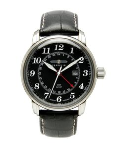 Graf Zeppelin Dual Time, GMT Watch 7642-2: Watches.  42mm case. 12mm thick. 48mm - 49mm lug to lug. $229