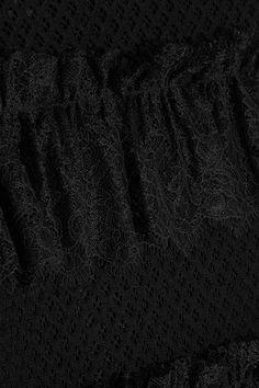 Philosophy di Lorenzo Serafini - Lace-trimmed Tiered Cotton-blend Mesh Skirt - Black - IT40