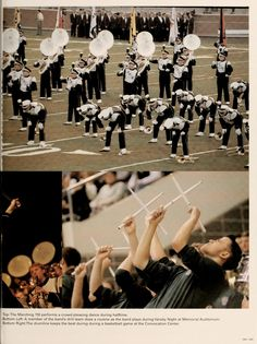 """Athena Yearbook, 2003. """"The Marching 110 performs a crowd-pleasing dance during halftime."""" :: Ohio University Archives"""