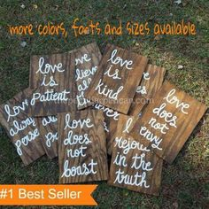Set of 10 Wedding Aisle Signs 1 Corinthians 13 Wedding Signs Love is Patient Love is Kind Hand Painted Wood Wedding Signage Love Signs by ThePeculiarPelican Wedding Ceremony Signs, Wooden Wedding Signs, Wedding Signage, Wedding Aisles, Wedding Venues, Love Does Not Boast, Love Does Not Envy, Wedding Tips, Our Wedding