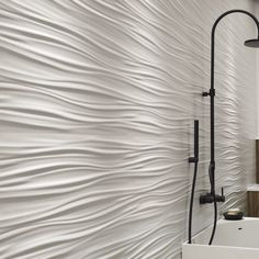 Find out all of the information about the Atlas Concorde product: indoor tile / wall / ceramic / cm WALL DESIGN : RIBBON WHITE & SAND. 3d Tiles, Wall Tiles, Concorde, Wave Pattern, 3d Wall, Three Dimensional, Wall Design, Interior Architecture, Waves