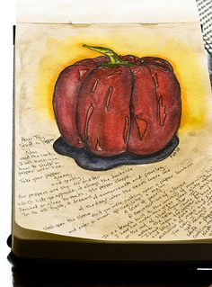 """Sorting through my stack of old Moleskine journals, I came across this page. It makes me happy because it marks the time I discovered the poem, """"How to Stuff a Pepper"""", by Nancy Willard. How To Be Rich, Moleskine, I Fall In Love, Make Me Happy, Mixed Media Art, Sorting, Journals, Poems, Stuffed Peppers"""